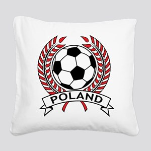 Poland Soccer Square Canvas Pillow