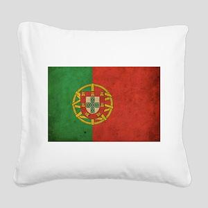 Vintage Portugal Flag Square Canvas Pillow