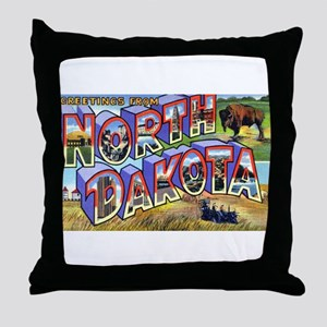 North Dakota Greetings Throw Pillow