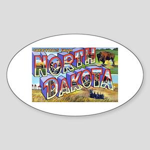 North Dakota Greetings Oval Sticker