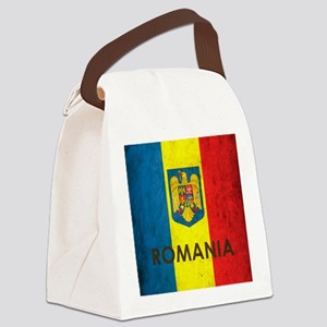 Romania Grunge Flag Canvas Lunch Bag