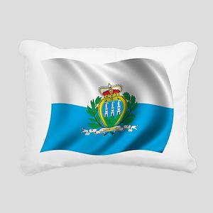 Wavy San Marino Flag Rectangular Canvas Pillow