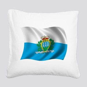 Wavy San Marino Flag Square Canvas Pillow