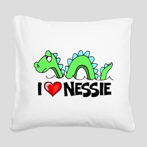 I Love Nessie Square Canvas Pillow