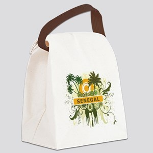 Retro Palm Tree Senegal Canvas Lunch Bag
