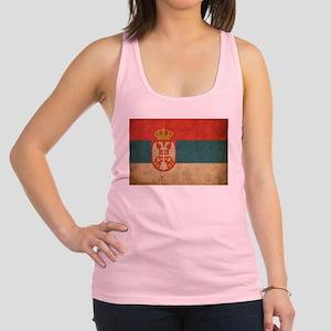 Vintage Serbia Flag Racerback Tank Top