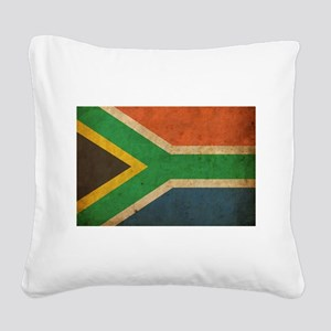Vintage South Africa Flag Square Canvas Pillow