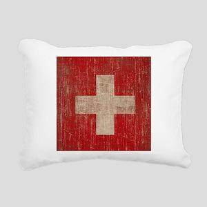 Vintage Switzerland Flag Rectangular Canvas Pillow
