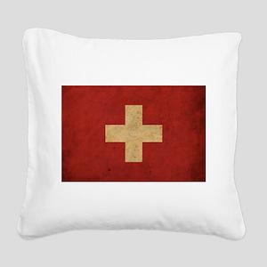 Vintage Switzerland Flag Square Canvas Pillow