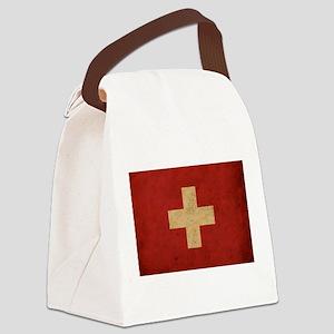 Vintage Switzerland Flag Canvas Lunch Bag