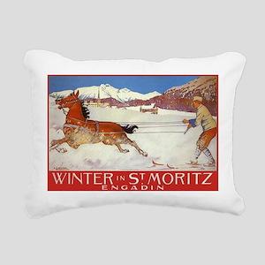 Winter In St Moritz Rectangular Canvas Pillow