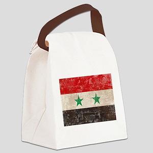 Vintage Syria Flag Canvas Lunch Bag