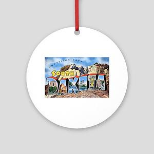 South Dakota Greetings Ornament (Round)