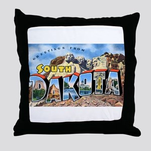 South Dakota Greetings Throw Pillow