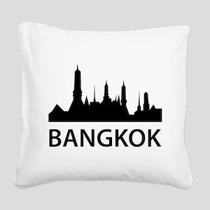 Bangkok Skyline Square Canvas Pillow