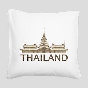 Vintage Thailand Temple Square Canvas Pillow