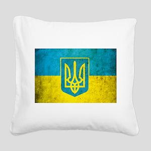 Vintage Ukraine Flag Square Canvas Pillow