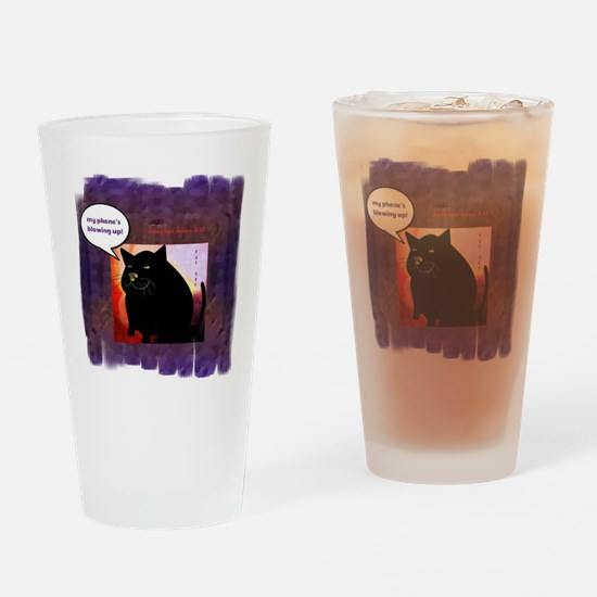 Funny Fat Cat Phone Drinking Glass