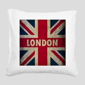 Vintage Union Jack Square Canvas Pillow