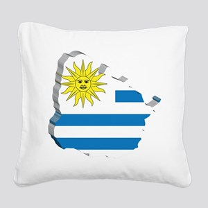 3D Map Of Uruguay Square Canvas Pillow