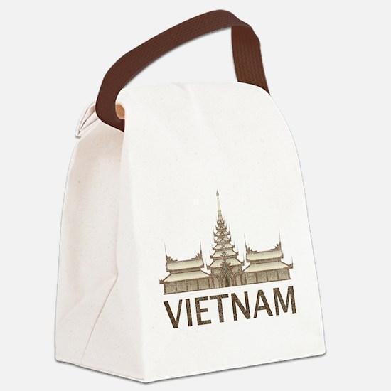 Vintage Vietnam Temple Canvas Lunch Bag