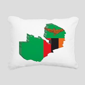 3D Zambia Map Rectangular Canvas Pillow