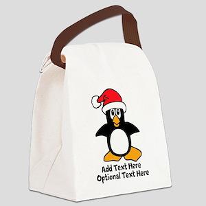 Christmas Penguin Canvas Lunch Bag