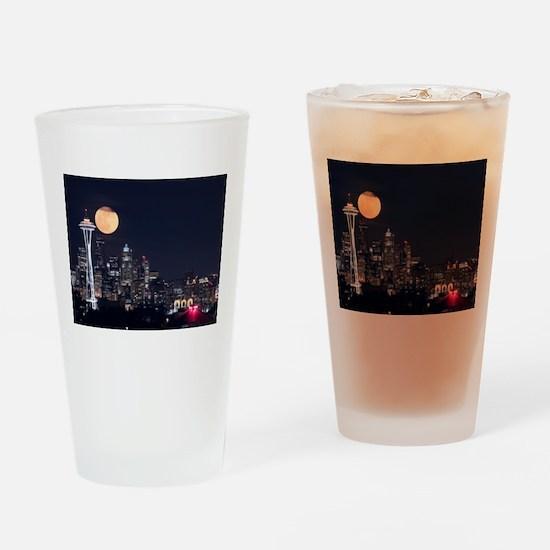 Seattle Space Needle Full Moon Drinking Glass