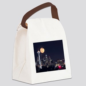Seattle Space Needle Full Moon Canvas Lunch Bag