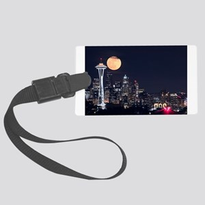 Seattle Space Needle Full Moon Large Luggage Tag