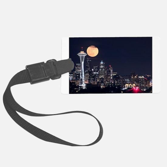 Seattle Space Needle Full Moon Luggage Tag