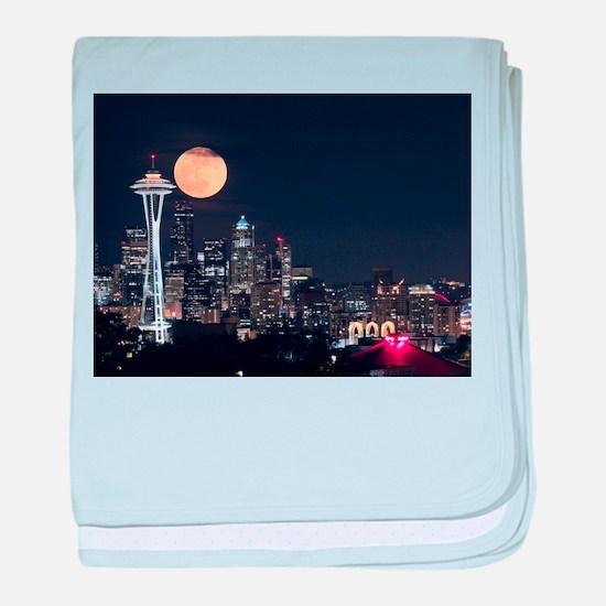 Seattle Space Needle Full Moon baby blanket