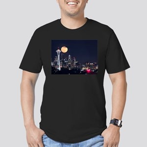 Seattle Space Needle Full Moon Men's Fitted T-Shir