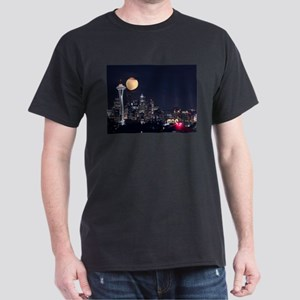 Seattle Space Needle Full Moon Dark T-Shirt