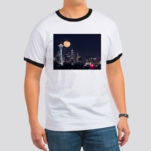 Seattle Space Needle Full Moon Ringer T
