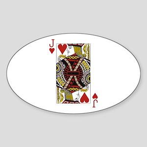 Jack of Hearts Sticker (Oval)