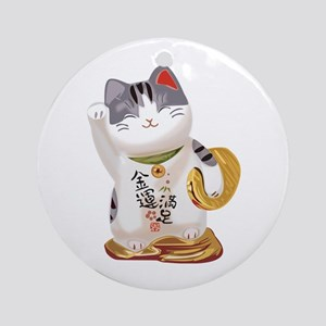 Lucky Cat Ornament (Round)
