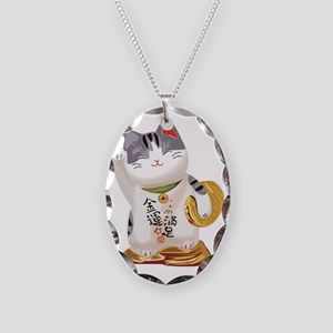 Lucky Cat Necklace Oval Charm