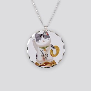 Lucky Cat Necklace Circle Charm
