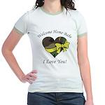 Welcome Home Babe Camo Heart Jr. Ringer T-Shirt