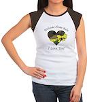 Welcome Home Babe Camo Heart Women's Cap Sleeve T-