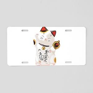 Lucky Cat Aluminum License Plate