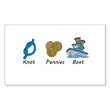 Knot Pennies Boat Sticker (Rectangle)