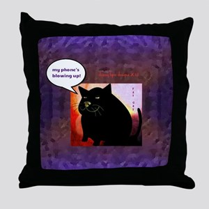 Funny Fat Cat Phone Throw Pillow