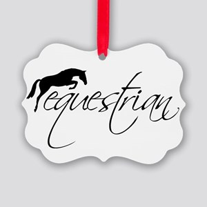 Equestrian w/ Jumping Horse Picture Ornament