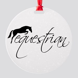 Equestrian w/ Jumping Horse Round Ornament