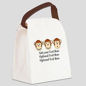 Three Monkeys Design Canvas Lunch Bag