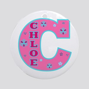 CHLOE Letterman Design Pink Ornament (Round)