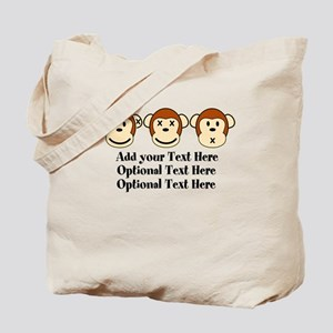 Three Monkeys Design Tote Bag