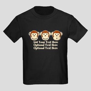 Three Monkeys Design Kids Dark T-Shirt